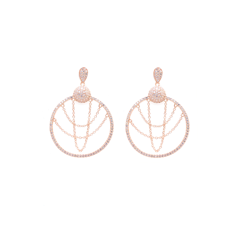product-Round Shape 925 Sterling Silver Earrings for Woman 34711-Kirin -img