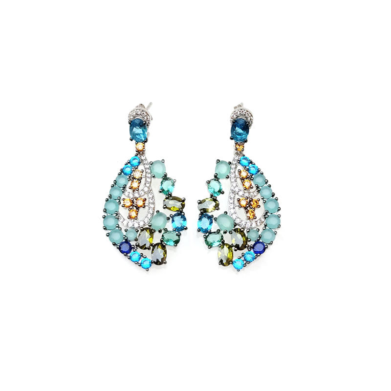 Multi Color 925 Sterling Silver Earrings for Woman 39998W