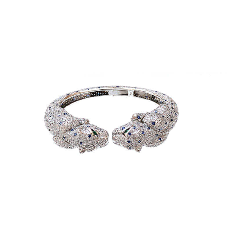 Movable Leopard 925 Sterling Silver Bangle for Woman 50213