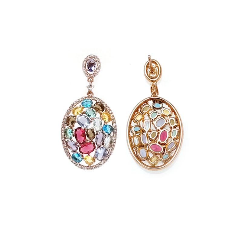 Muliti color 925 Sterling Silver Earrings for Woman 85156EW