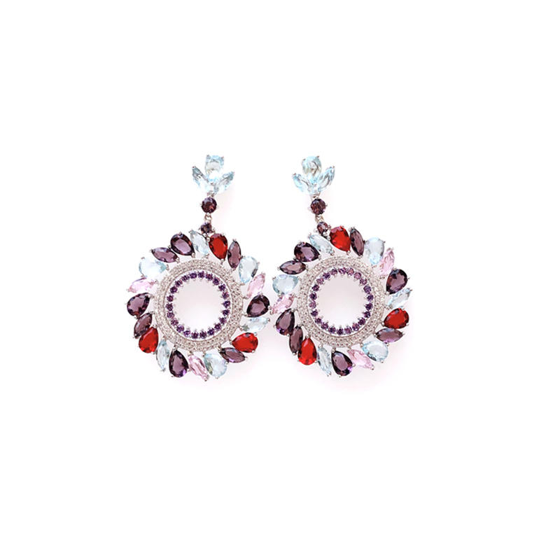 Multi color 925 Sterling Silver Round Earrings for Ladies 34569