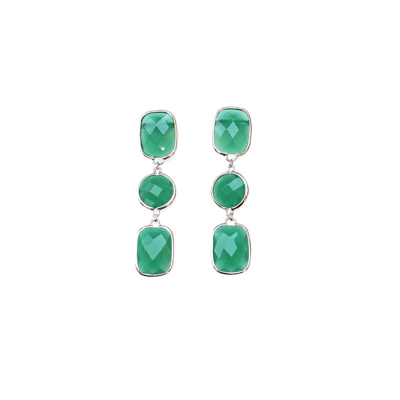 Fashion 925 Sterling Silver Women's Earrings with Green Glass 33584