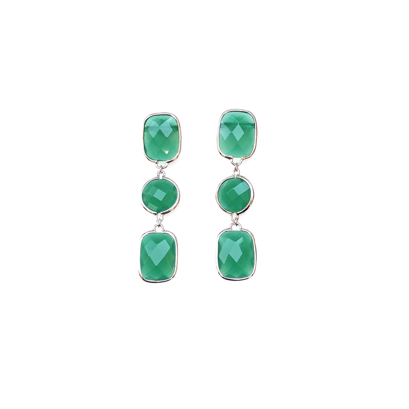 product-Fashion 925 Sterling Silver Womens Earrings with Green Glass 33584-Kirin -img