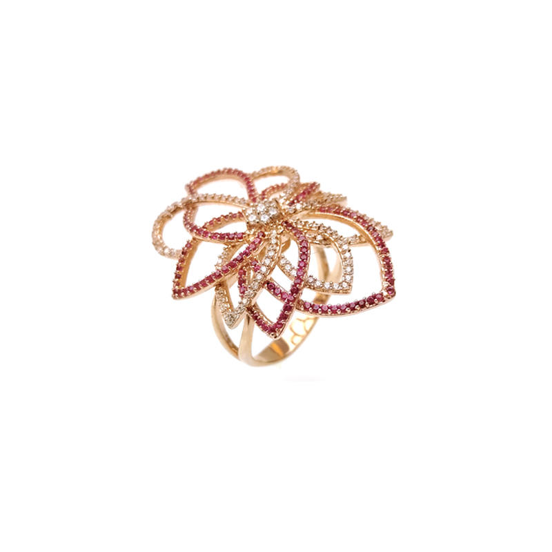 Trend 925 Sterling Silver Gold Plating Flower Rings for Woman 19461