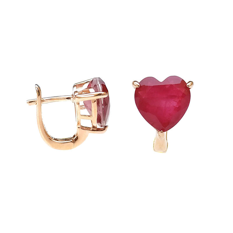 Stylish Love Heat 925 Sterling Silver Earrings with Gold Plating for Woman 86044EW