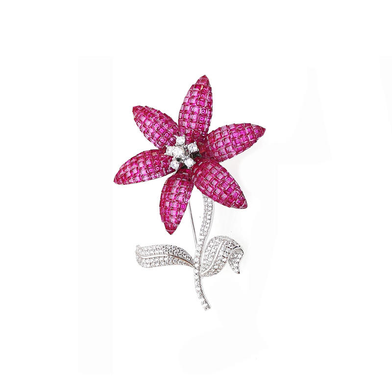 Professional Wholesale Flower Invisible Setting Items Brooch with Cubic Zircon for Woman 40272 Factory From China-Kirin