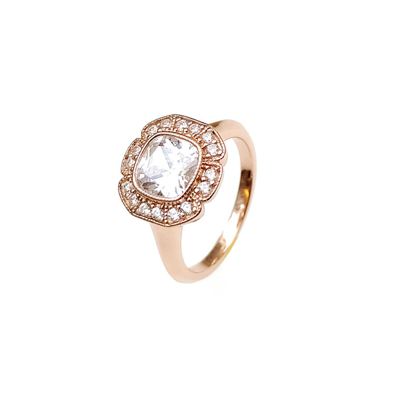 Classic 925 Sterling Silver CZ Rings with Gold Plated for Woman 105260
