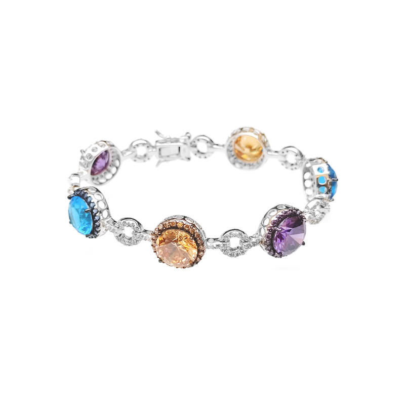 Pretty Multi Color 925 Sterling Silver CZ with Rhodium Plated Bracelets for Woman 60176