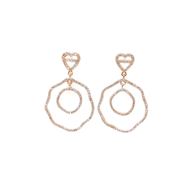 Custom Dainty 925 Sterling Silver Earrings with Rose Gold Plated 35093W