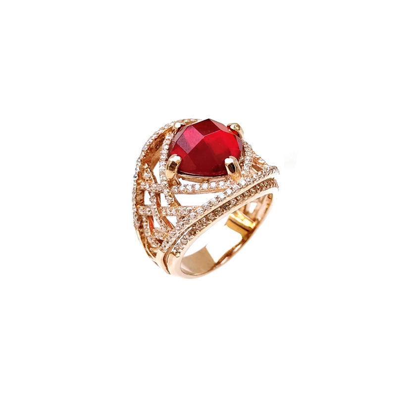Professional Charm 925 Sterling Silver CZ Ruby Rings with Gold Plated for Woman 19529