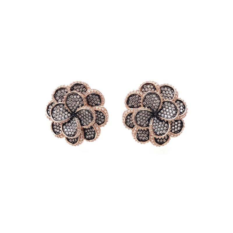 Special Flower 925 Sterling Silver Earrings with Black Gold Plated for Woman 33433