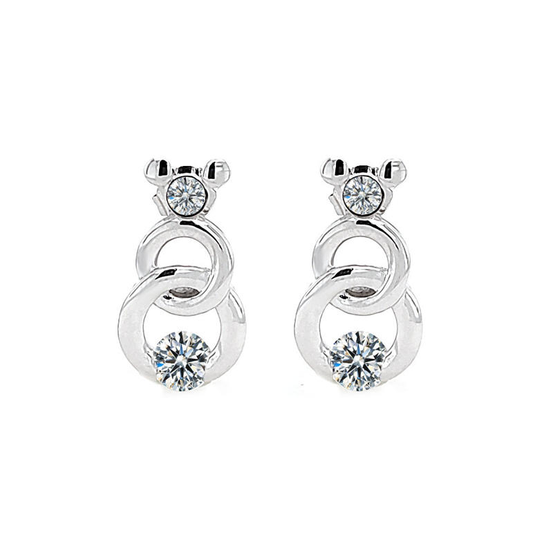 Disney 925 Sterling Silver CZ Crystal Earrings for Girls with Rhodium Plated 301239