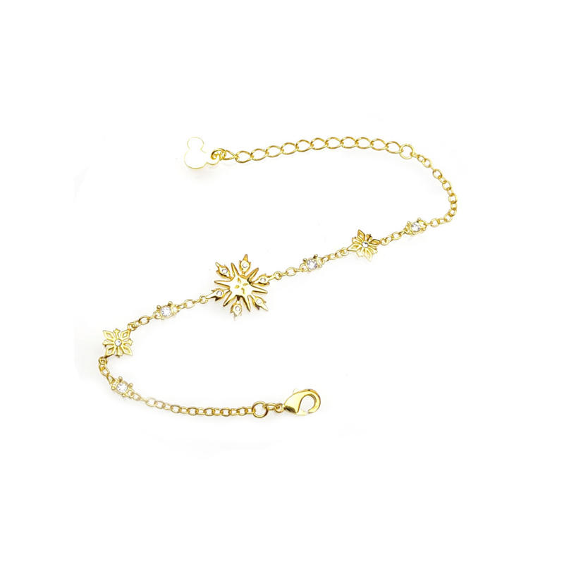 Custom Disney 925 Sterling Silver Rhinestone Bracelets with Gold Plated 86702
