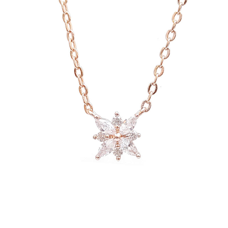 Pretty Snowflake 925 Sterling Silver Pendants with Rose Gold Plated 84983PW