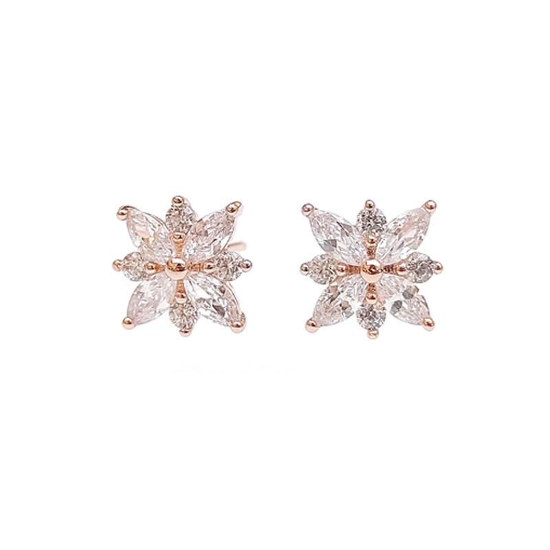 Stub 925 Sterling Silver Earrings with Rose Gold Plated for Woman 84983EW