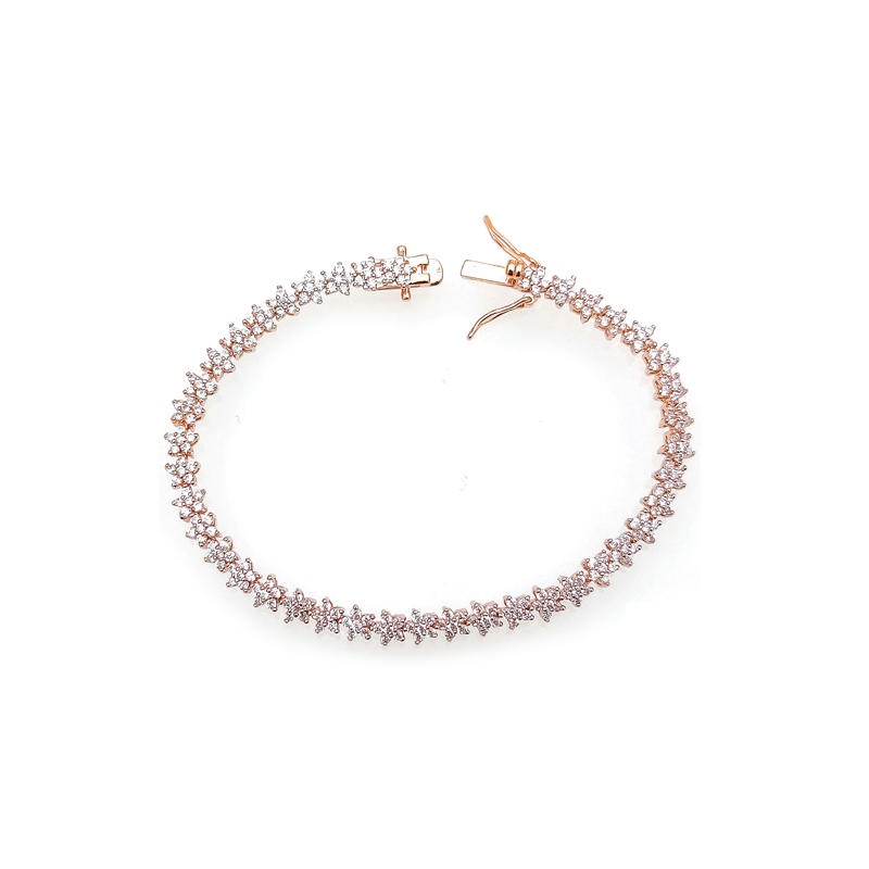 Customize Elegant 925 Sterling Silver Bracelet with Rose Gold Plated for Woman 85361TW