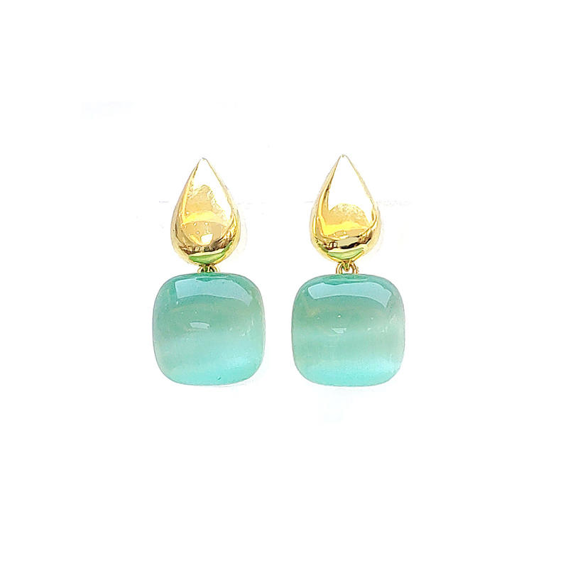 925 Sterling Silver Cat's Eye Stone Earrings with Gold Plated for Ladies 86242EW