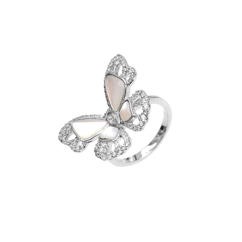 Butterfly 925 Sterling Silver CZ Pearl Rings with Rhodium Plated for Woman 86444RW