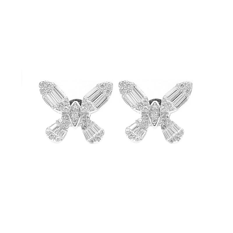 Cross 925 Sterling Silver Cubic Zircon Earrings with Rhodium Plated for Ladies 86539EW