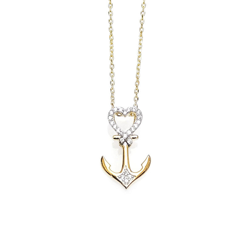 Heart Anchor 925 Sterling Silver Pendant with Gold Plated for Woman 28414