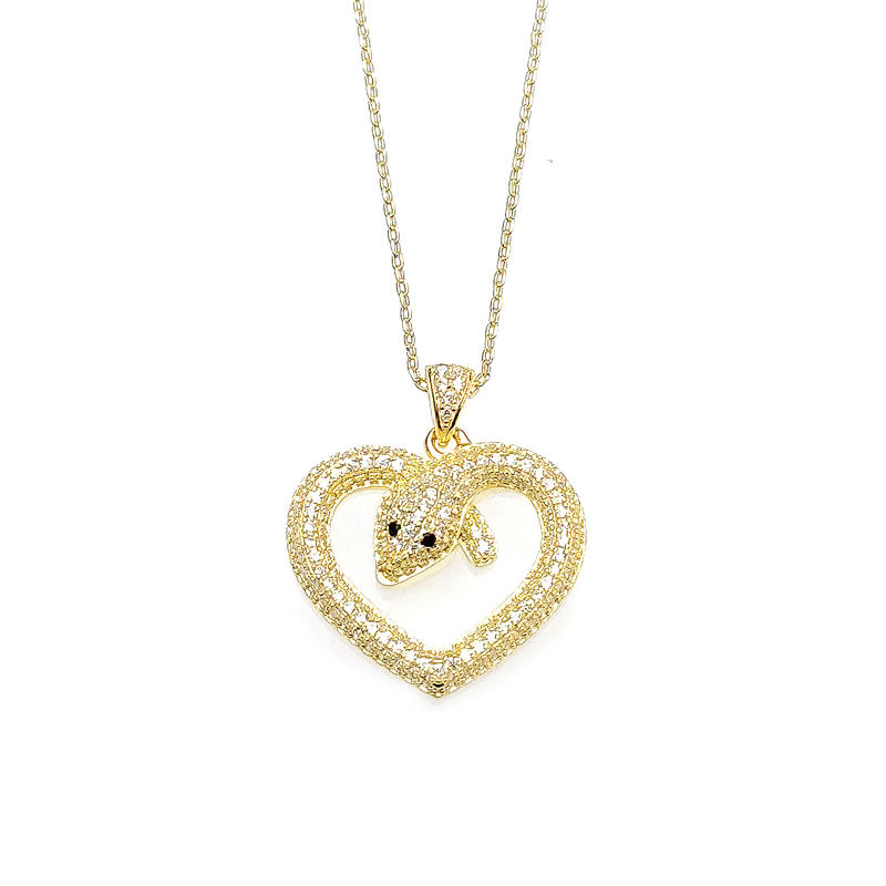 Snake Heart Love 925 Sterling Silver Women's Pendant with Gold Plating 28412