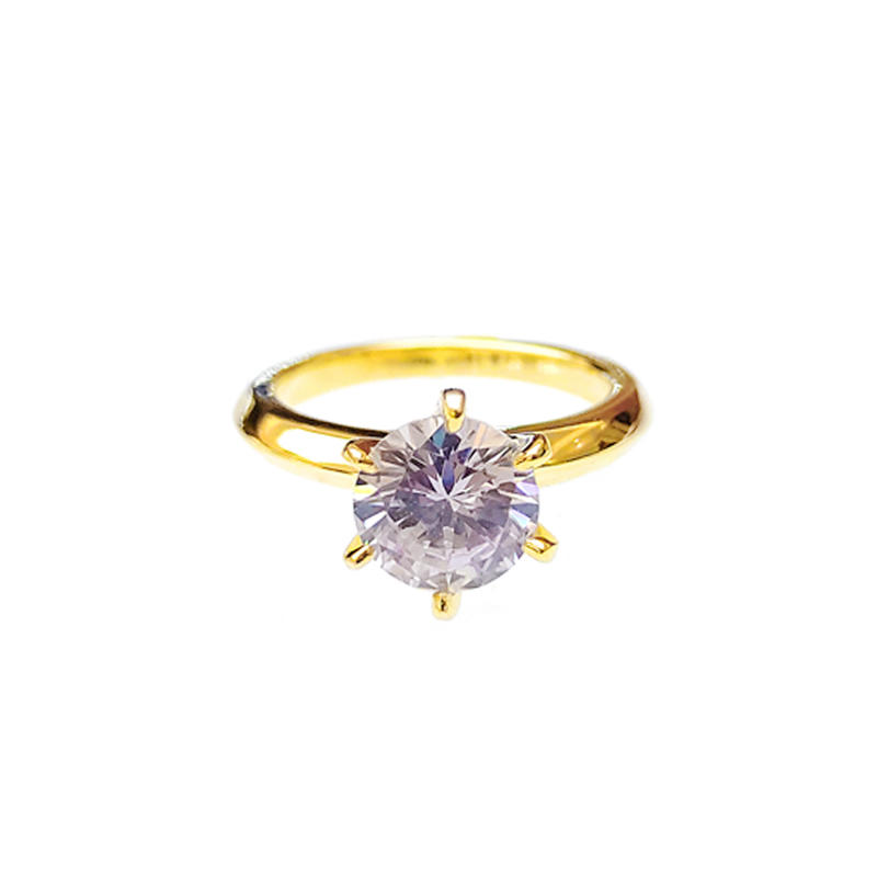 Top Quality Engagement 925 Sterling Silver Ring with Gold Plated for Woman 107034 Wholesale-Kirin