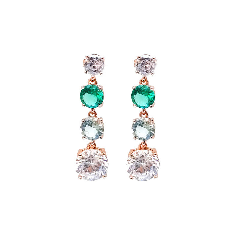 China Drop 925 Sterling Silver CZ Earrings with Rose Gold Plated 300077 Customized-Kirin
