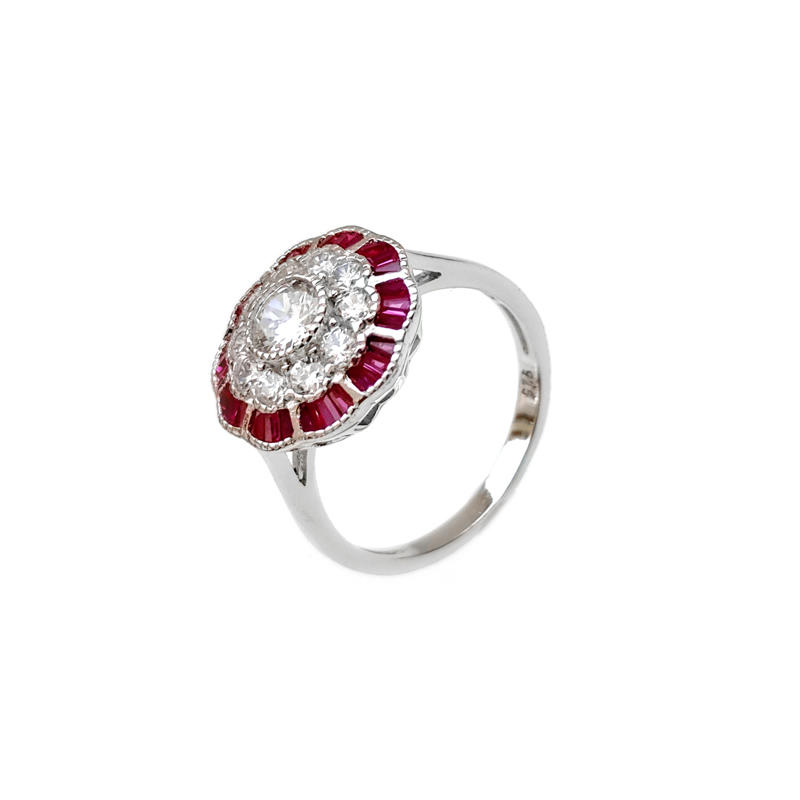 Flower Shape 925 Sterling Silver Rings for Woman CZ Ruby 86517RW Oem With Good Price-Kirin