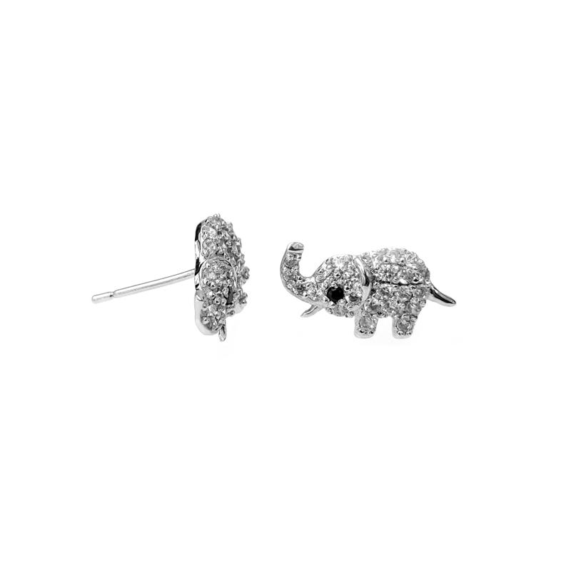 Oem Cute 925 Sterling Silver CZ Elephant Earrings for Woman 301019 Factory Price
