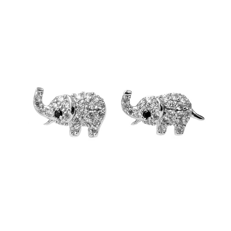 Oem Cute 925 Sterling Silver CZ Elephant Earrings for Woman 301019 Factory Price