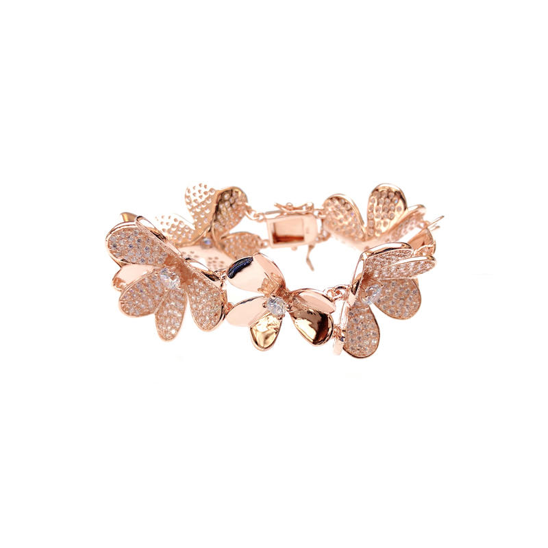 Professional Charm Flower 925 Sterling Silver Bracelet with Gold Plated for Woman 60047 Supplier-Kirin