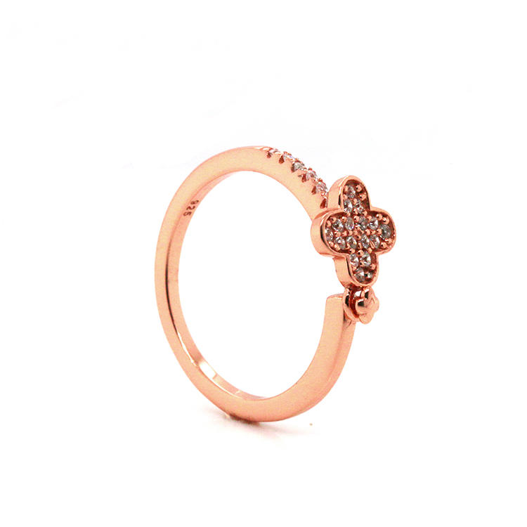 Wholesale Flower 925 Sterling Silver CZ Rings with Rose Gold Plating 102178