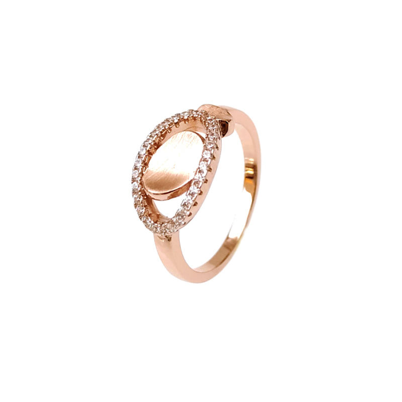 Special 925 Sterling Silver CZ Ring with Rose Gold Plating for Woman 85359