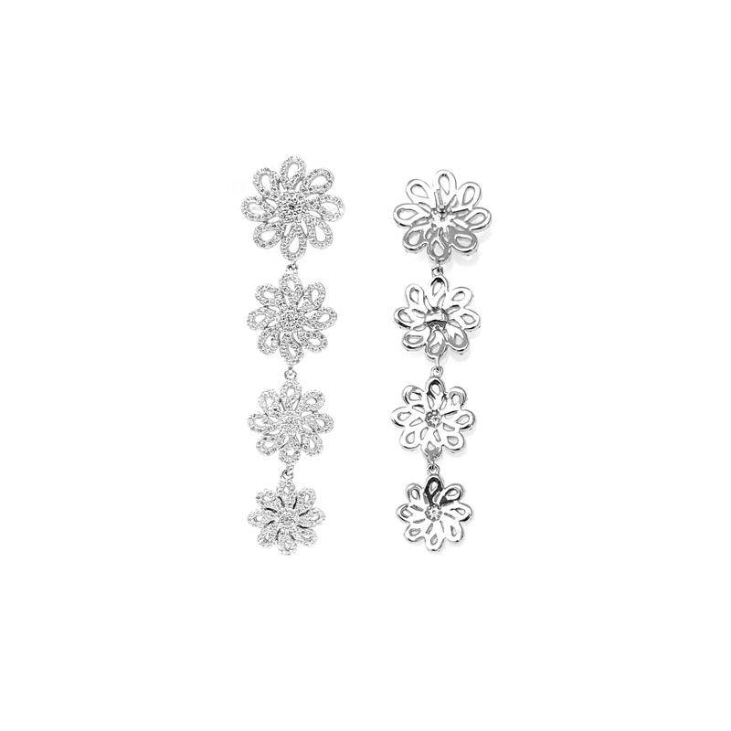 Classic Chain Flower 925 Sterling Silver CZ Earrings with Rhodium Plated for Woman 85052