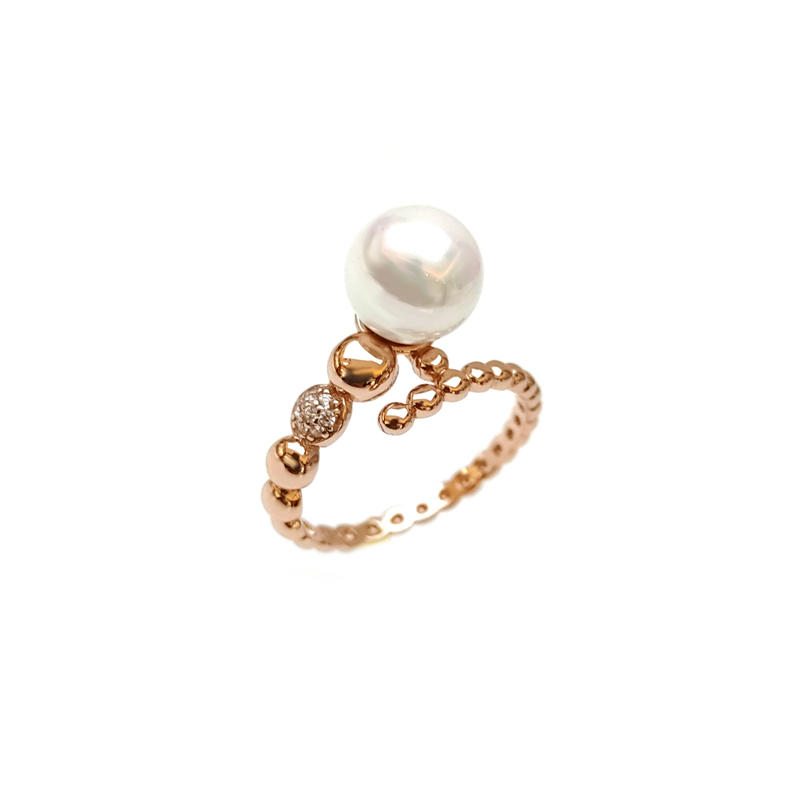 Custom 925 Sterling Silver Pearl Ring with Rose Gold Plating for Woman 103988