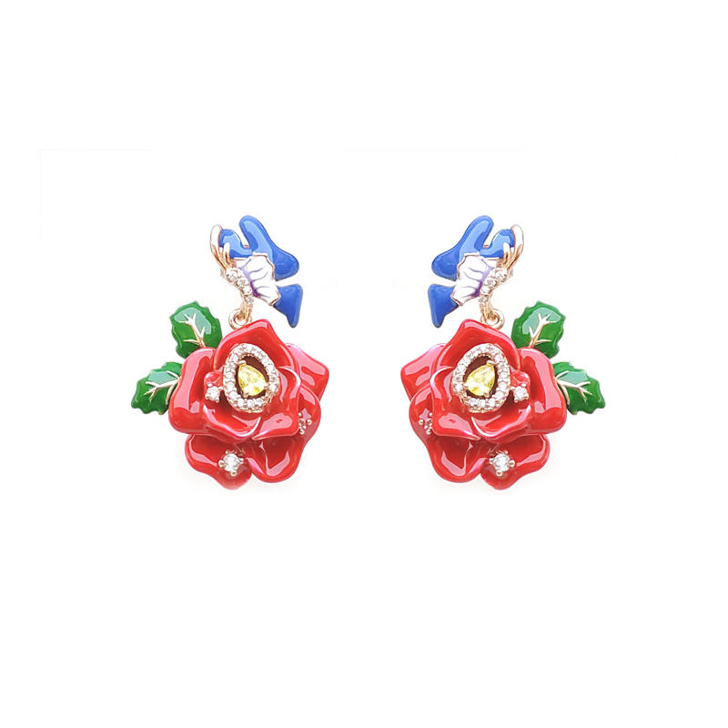 Chinese Style 925 Sterling Silver Flower Bird Earrings for Woman 84458EW