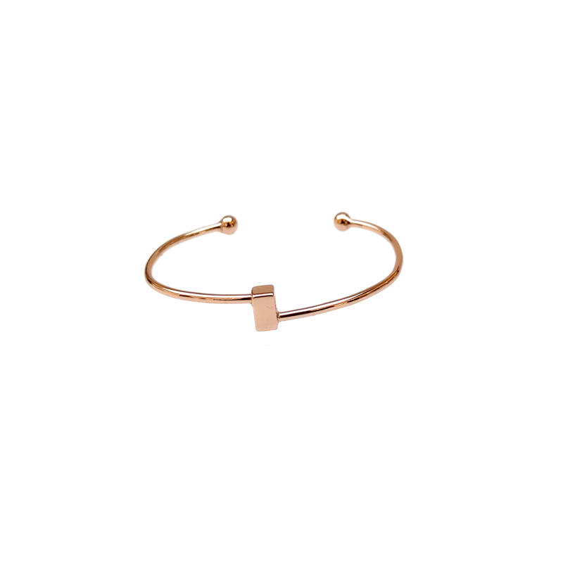 Charm Wholesale Minimalist 925 Sterling Silver Bangle with Rose Gold Plated 51094