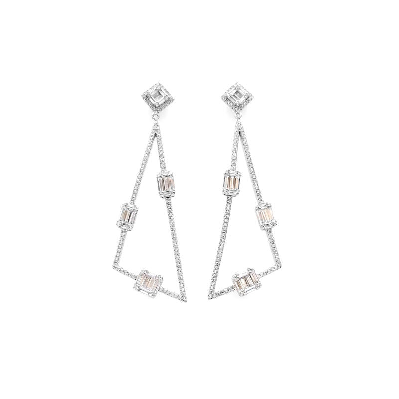 Drop Triangle 925 Sterling Silver Women's CZ Earrings with Rhodium Plated 38519