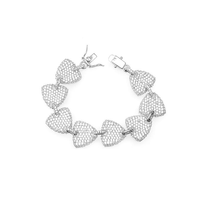Chain Heart 925 Sterling Silver Cubic Zircon Bracelet with Rhodium Plated 60478