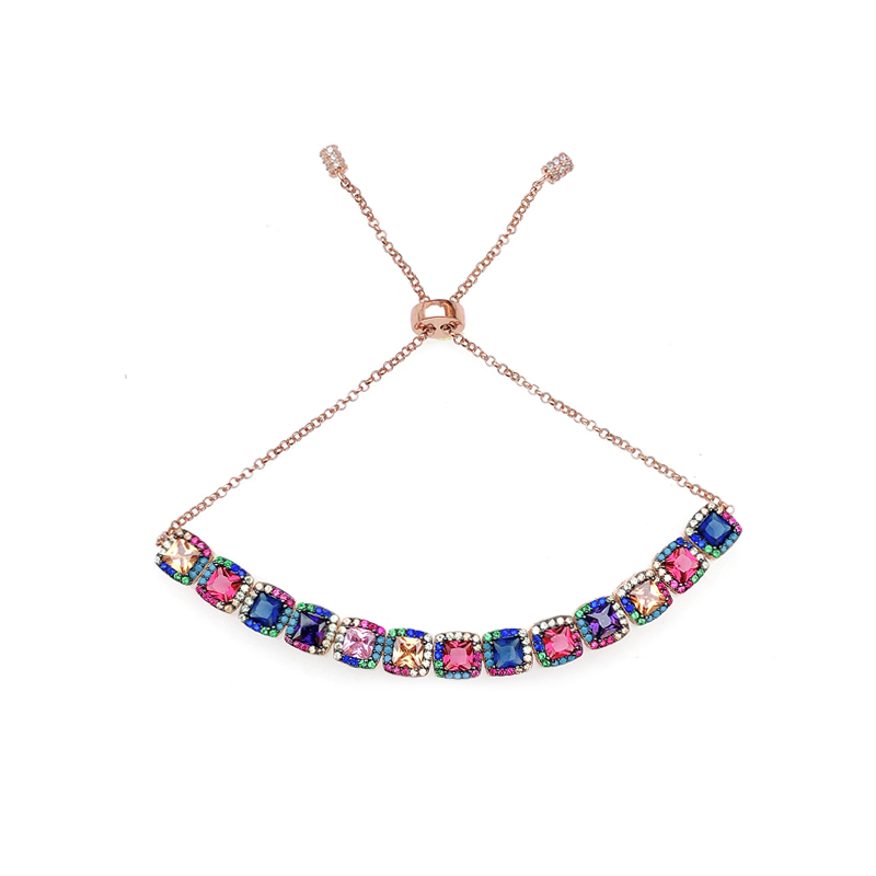 product-Kirin -Fashion Moveable Multi Color 925 Sterling Silver Womens Bracelet with Gold Plated 621