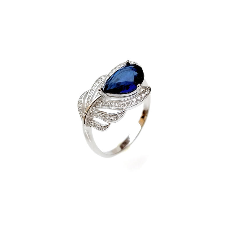 Custom Feather 925 Sterling Silver CZ Ring with Rhodium Plated for Woman 81944RW