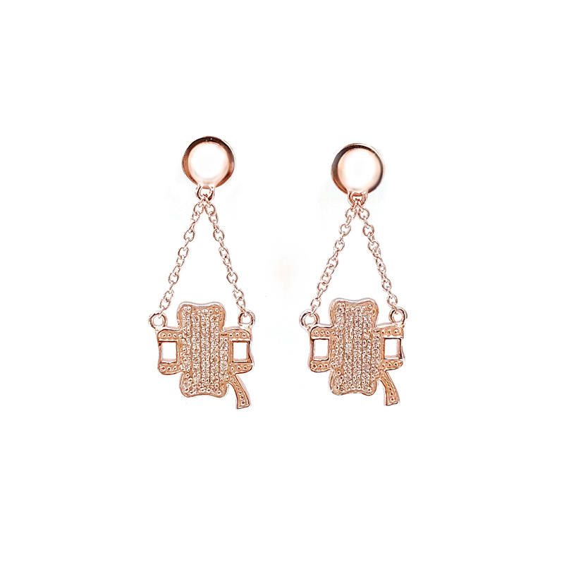 Custom Four Leaf Clover 925 Sterling Silver Earrings with Rose Gold Plating 33292