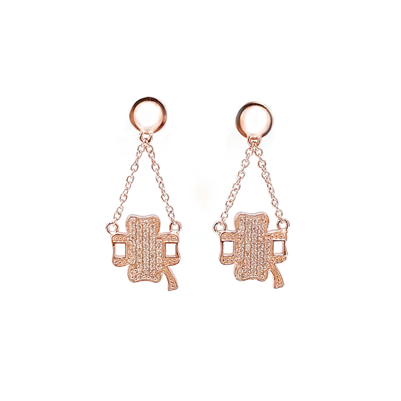 product-Kirin -Custom Four Leaf Clover 925 Sterling Silver Earrings with Rose Gold Plating 33292-img