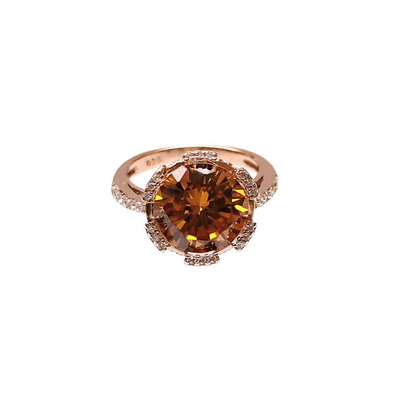 Sparkle OEM 925 Sterling Silver Engagement Ring with Rose Gold Plating 102586