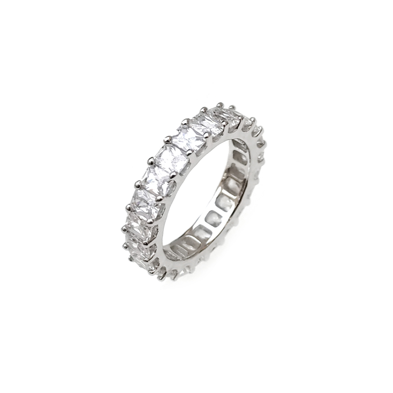 product-Kirin -Minimalist Bling 925 Sterling Silver CZ Engagement Ring with Rhodium Plated 102342-im