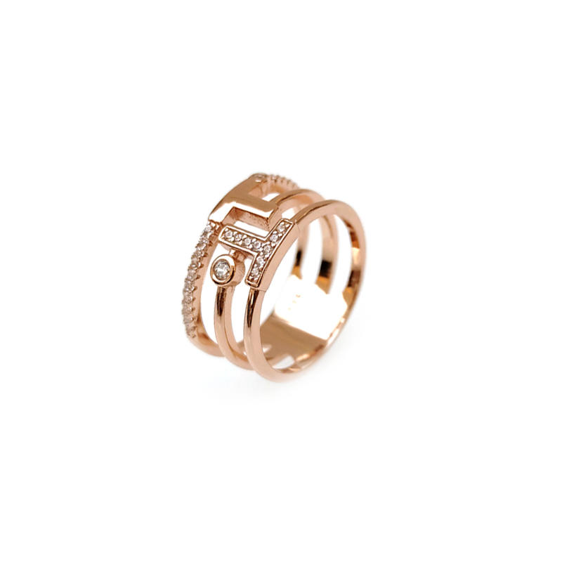 OEM 925 Sterling Silver CZ Women's Letter Ring with Rose Gold Plated 103979W-1