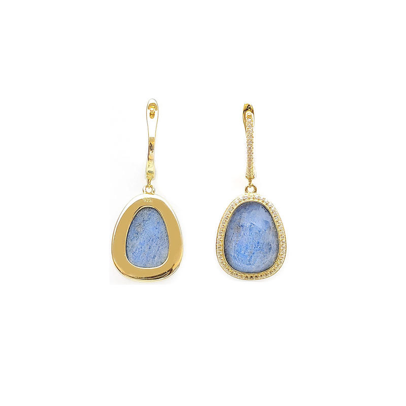 Luxury Elegant 925 Sterling Silver Earrings for Woman with Gold Plated 83210EW
