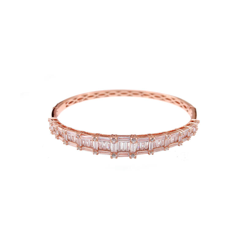 High Quality Stylish 925 Sterling Silver CZ Bangles with Rose Gold Plated 50723 Wholesale-Kirin