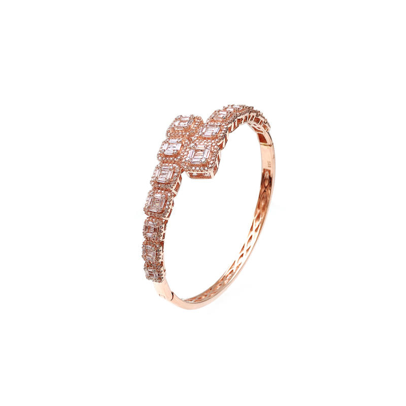 Special OEM 925 Sterlling Silver Bangle with Rose Gold Plated for Woman 50726