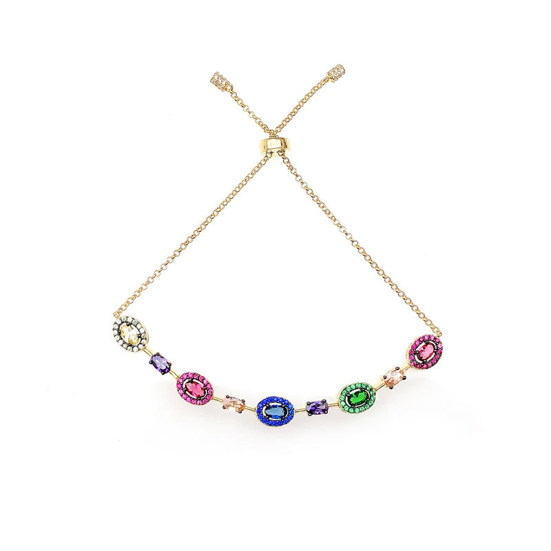 Multi Color 925 Sterling Silver CZ Bracelet with Gold Plated for Woman 62137
